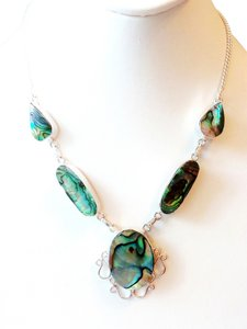 Genuine Abalone 925 Sterling Silver Necklace
