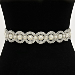 White Clear Crystal Vintage Style Versatile Rhinestone Pearl Accent Band Necklace Sash