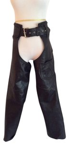Hudson Leather Braided Leather Trim Boot Cut Pants Black