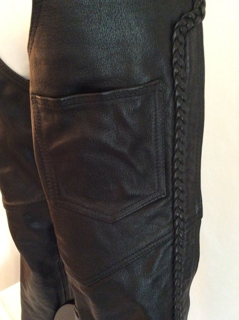 Hudson Leather Braided Trim Boot Cut Pants Black