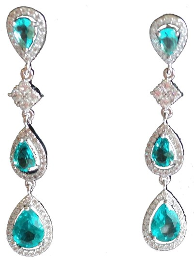 Other Elegant Long Dangle Swiss Blue Topaz 14k 925 Sterling SIlver Post Earrings