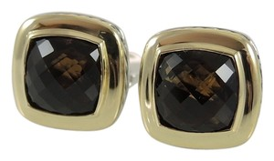 David Yurman David Yurman Sterling Silver 18K Yellow Gold 11x11mm Smoky Quartz Albion Earrings - Retail $1750
