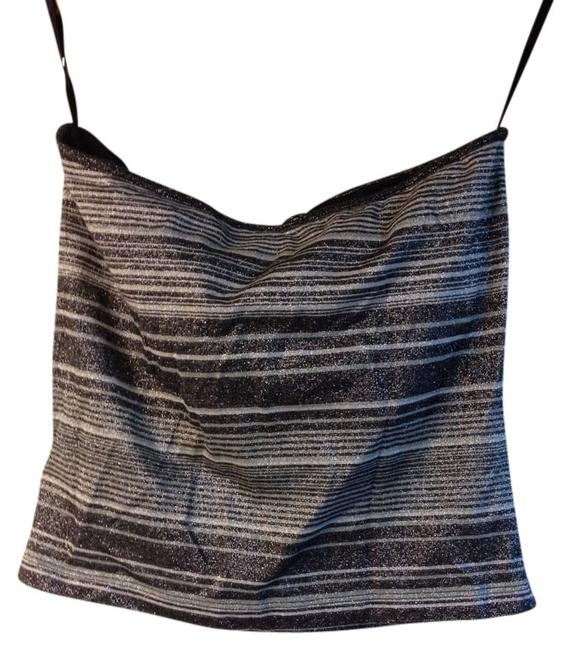 Express Halter Sparkle Striped Keyhole Top