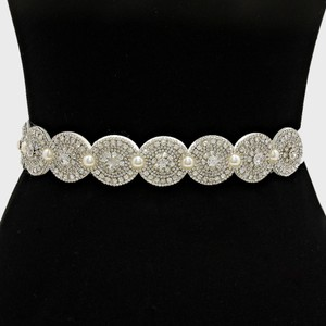 Vintage Style 3 In One Versatile Crystal Cluster Pearl Beaded Bridal Sash Waist Band Headband Choker Necklace