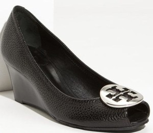 Tory Burch Sally Peep Toe Wedge Pump Leather Silver Logo Black Platforms