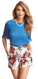 Corey Lynn Calter Openback Polka Dot Silk Summer Top Blue