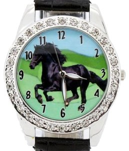 Black Beauty Horse Rhinestone Quartz Watch Free Shipping