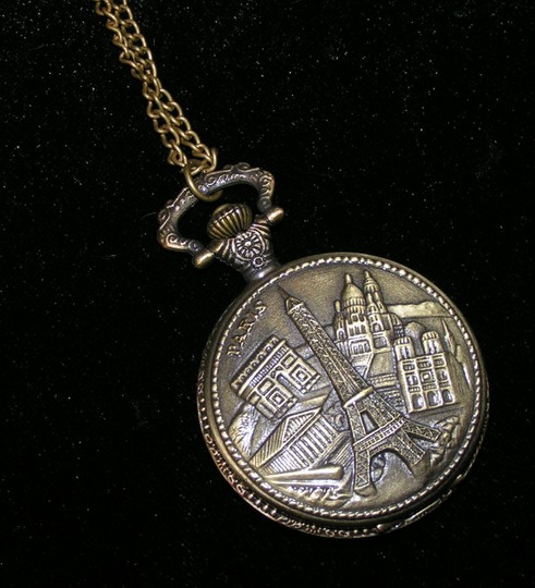 Other Eiffel Tower Bronze Sweater Necklace Pocket Watch Free Shipping