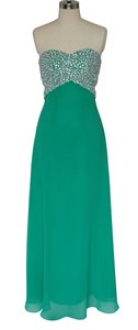 Green Crystal Beads Bodice & Open Back Long Size:6 Dress