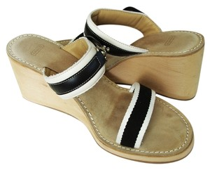 Coach Suede Slides Wedge Heel Tan Wedges