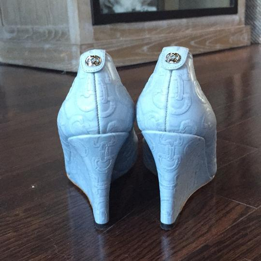 Gucci Light Blue Leather Wedges