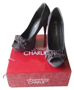 Charming Charlie Faux-suede Peep Toe Gray Grey Pumps