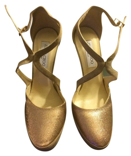Jimmy Choo Stiletto Suede Metallic Gold Platforms