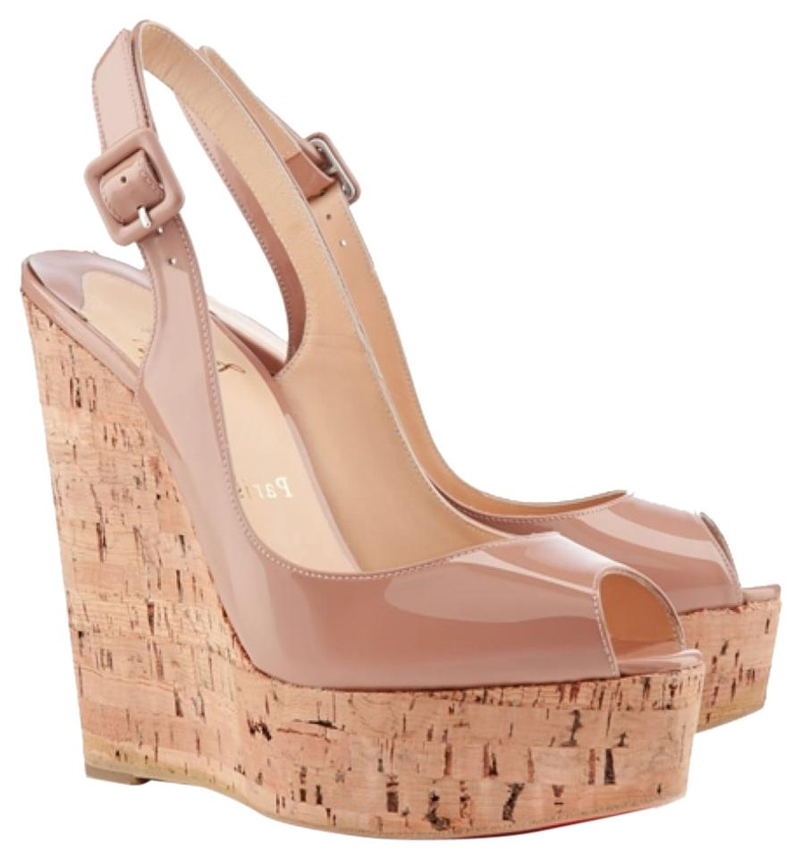 d497c83abab9 Christian Louboutin Nude Patent Leather Une Plume Wedges Size US 9 ...