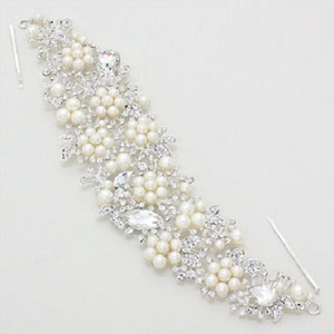 Elegant Pearl Accent Rhinestone Crystal Silver Rhodium Bridal Hair Stick Wedding Accessory Jewelry