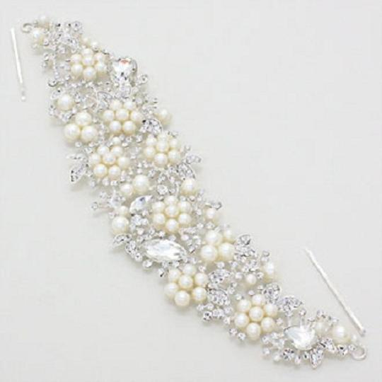 Clear Silver Cream Elegant Pearl Accent Rhinestone Crystal Rhodium Stick Hair Accessory