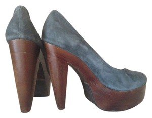 Madison Harding Platform Suede Leather Fall Designer Stacked Gray Pumps