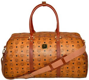 MCM Modern Creation Munich Modern Creation Munchen Visetos Visetos Visetos Pattern Cognac Cognac Duffle Duffel Duffle Brown Travel Bag