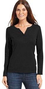 Karen Scott Henley T Shirt BLACK