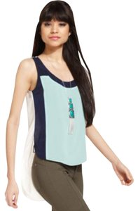 Bar III Wide Straps Colorblocking Top Green