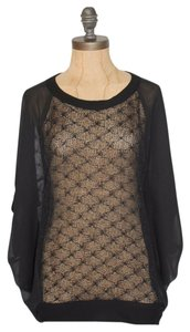 Anthropologie Sheer Willow & Clay Top BLACK