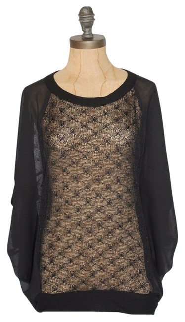 Anthropologie Sheer Willow & Clay Relaxed Fit Dolman Sleeve Boxy Top BLACK