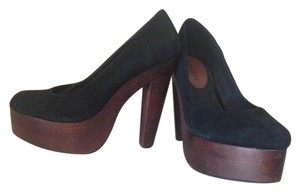Madison Harding Suede Platform Heel Stacked Leather Fall Black Pumps