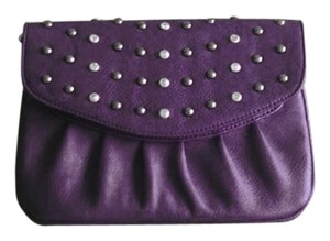 GA Wristlet Studded Jewelled Cocktail Dark Purple Clutch