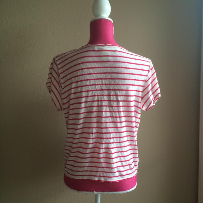 Max Studio Striped Linen T Shirt Red and White