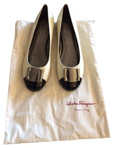 Salvatore Ferragamo Patent Leather White and black Flats