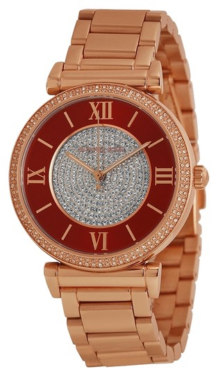 Michael Kors Crystal Pave Red Dial Rose Gold Round Ladies Watch
