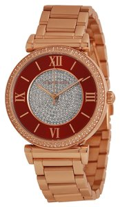 Michael Kors Crystal Pave and Red Dial Rose Gold Stainless Steel ladies watch