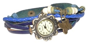 Other Blue Leather Charm Quartz Bracelet Watch Free Shipping