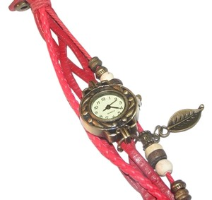 Other Sexy Red Leather Bronze Quartz Bracelet Watch Free Shipping