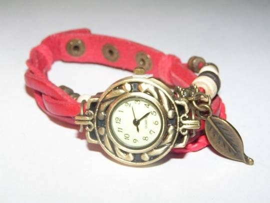 Other BOGO Sexy Red Leather Bronze Quartz Bracelet Watch Free Shipping Image 1