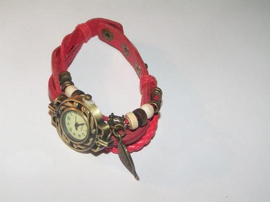 Other BOGO Sexy Red Leather Bronze Quartz Bracelet Watch Free Shipping Image 2
