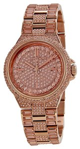 Michael Kors Crystal Encrusted Rose Gold Bling Designer Dress Watch