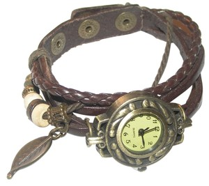 Other Brown & Bronze Leather Bracelet Watch Free Shipping