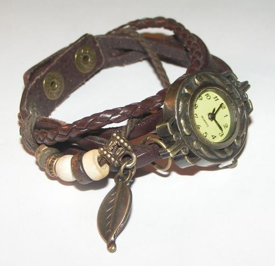 Other BOGO Brown & Bronze Leather Bracelet Watch Free Shipping Image 2