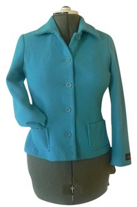 Harvé Benard 5 Button Front Closure Turquoise Wool/blend Size 4p Turquoise Blue Jacket
