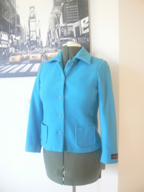 Harvé Benard 5 Button Front Closure Wool/Blend Size 4p Turquoise Blue Jacket