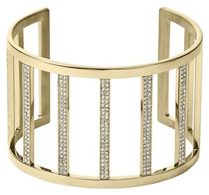 Michael Kors NWT Michael Kors GOLD Clear Pave Wide Bar Open Cuff Bracelet