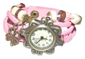 Pink Leather Charm Bracelet Watch Free Shipping
