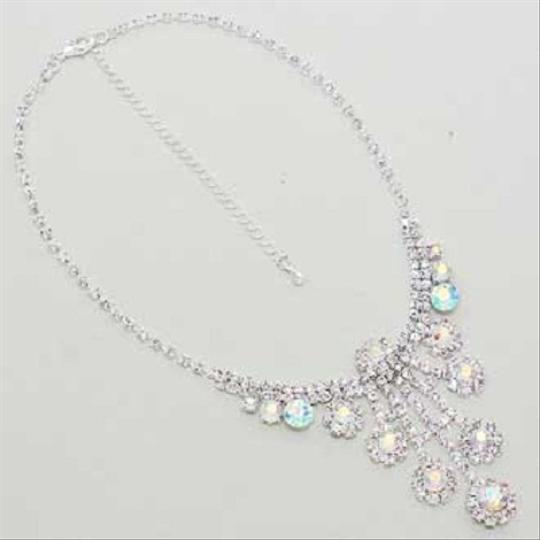 Ab Crystal Elegant Bejeweled Sparkling Rhinestone Formal Necklace and Earring Jewelry Set