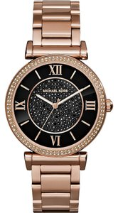 Michael Kors Rose Gold Designer watch with Black Dial and Crystal Pave
