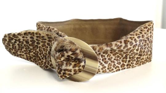 French Vintage Genuine Leopard Print Pony Hair Belt With Horn Look Resin Slide Buckle One Size