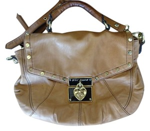 Betsey Johnson Heart Leather Crossbody Satchel in Brown