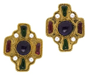 Chanel Chanel Vintage Gold Cross Gripiox Earrings