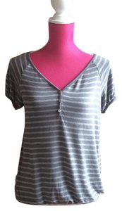 Max Studio Striped T Shirt Gray