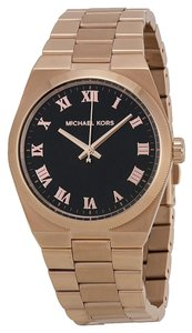 Michael Kors Black Dial Rose Gold Stainless Steel Designer Casual Watch